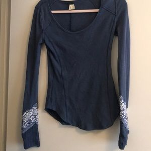Free People Waffle Knit Top